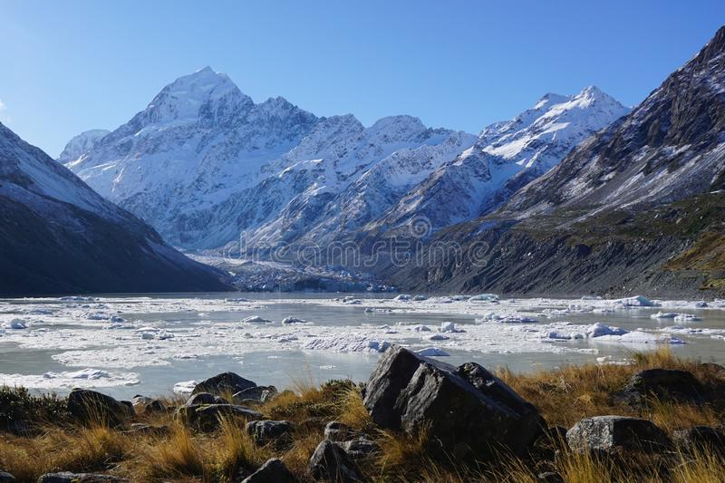 Footsteps of Lord of the Rings: Mount Cook New Zealand royalty free stock images