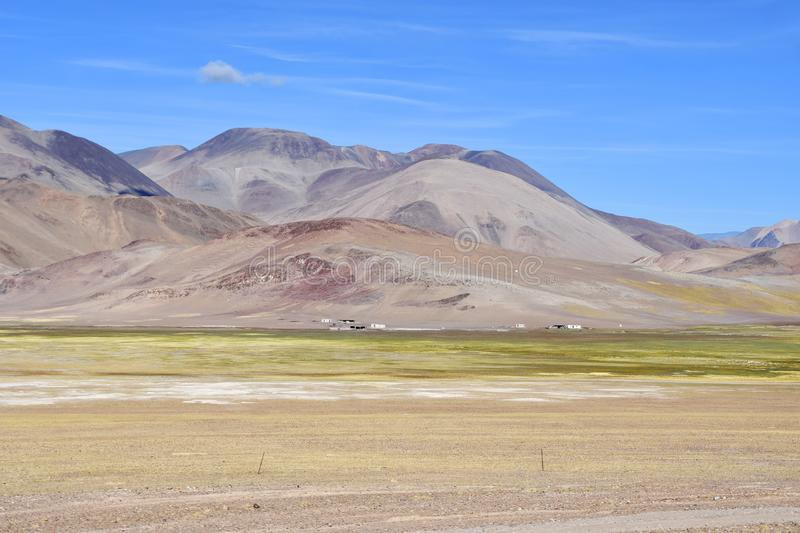 In the footsteps of Roerich`s expedition. Beautiful colorful mountains in Tibet in summer , China.  stock image