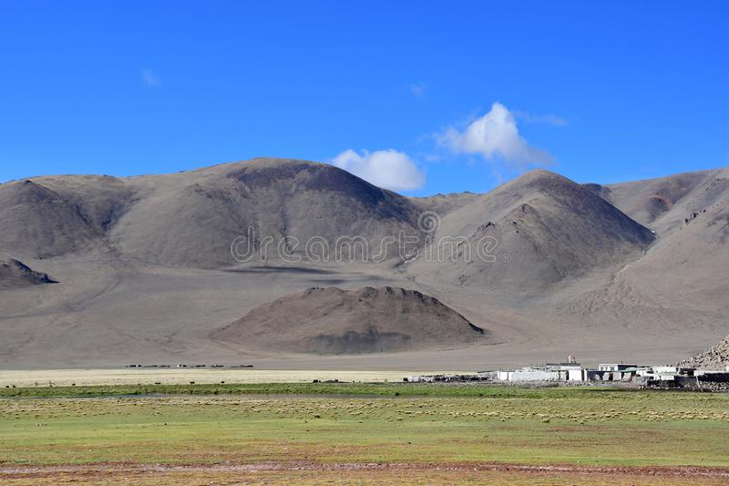 In the footsteps of Roerich`s expedition. Beautiful colorful mountains in Tibet in summer , China.  stock images
