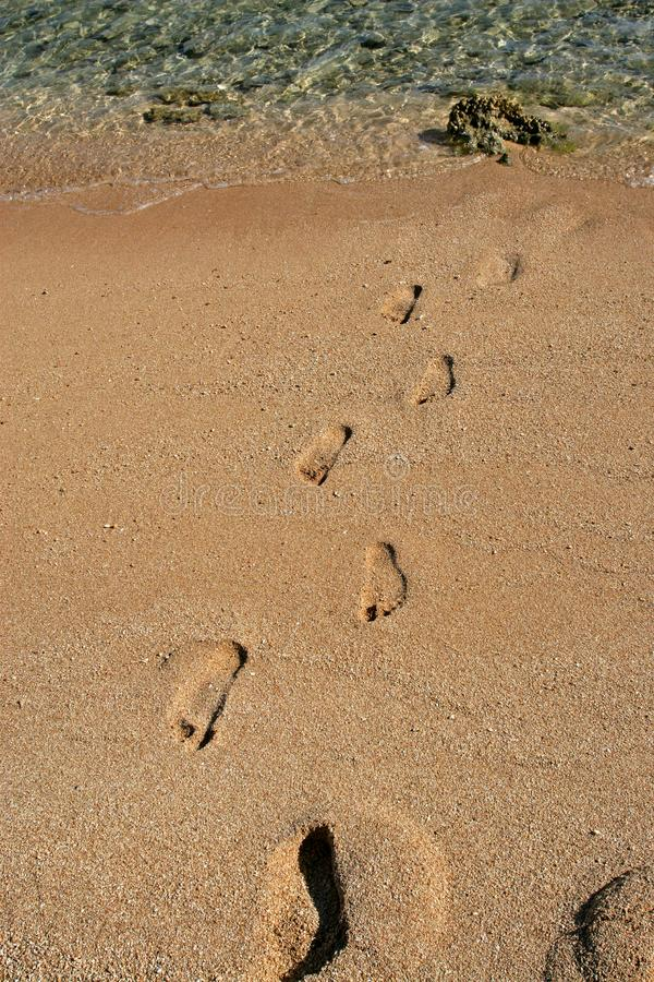 Footsteps On Sand Free Stock Images