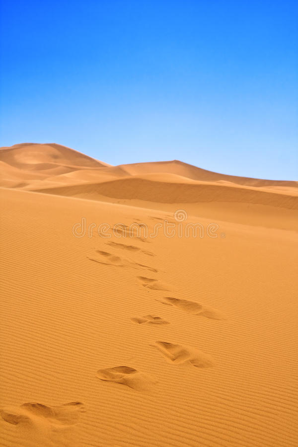 Download Footsteps on sand dunes stock image. Image of clear, blue - 29573717