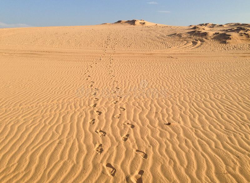 Footprints in the White Sand Dunes. Footprints in Southeast Asia`s largest sand dunes, known as Bau Trang or White Sand Dunes near Mui Ne, Vietnam stock photos