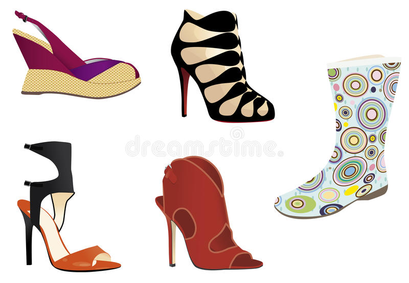 Footwear. Set of footwear: sandals, boots, shoes, rubber boots vector illustration