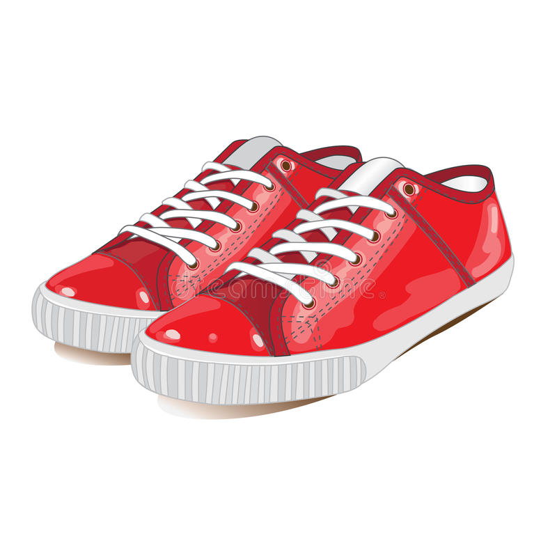 Footwear. Red sport footwear on a white background royalty free illustration
