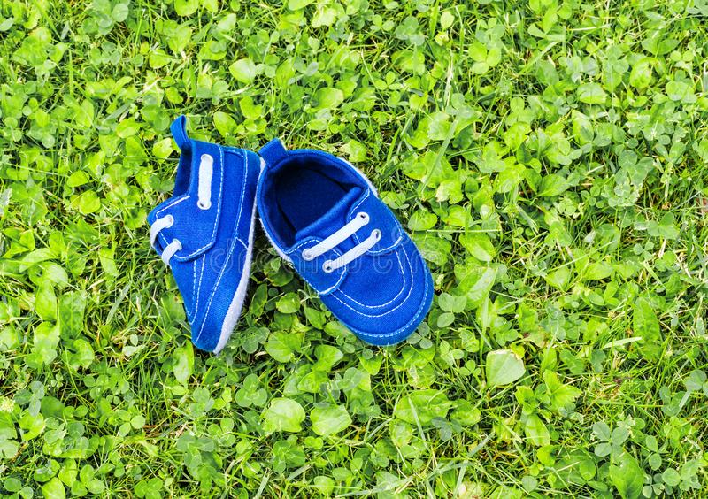 Footwear on grass royalty free stock image