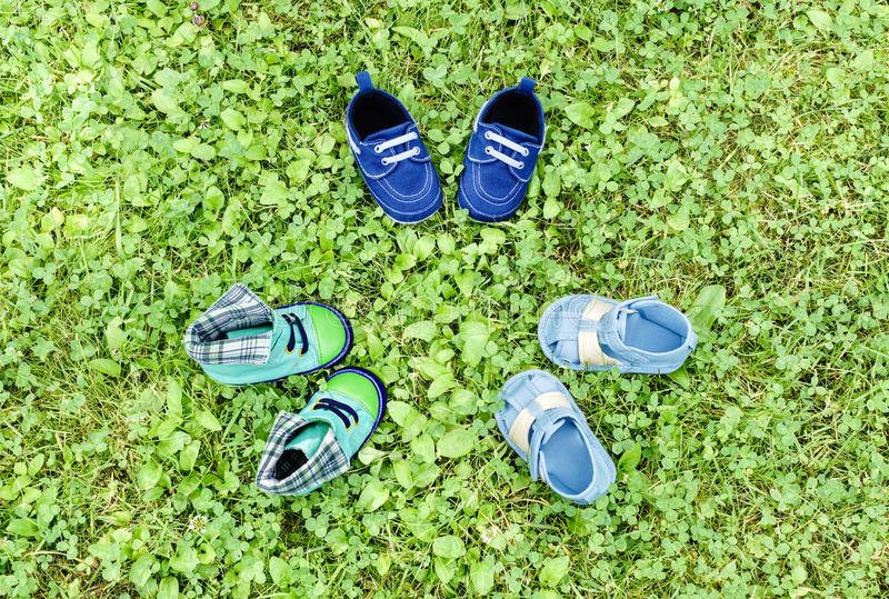 Footwear on grass stock images