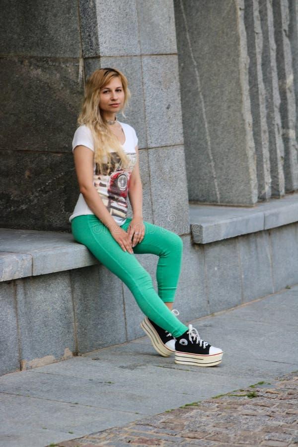 Footwear, Green, Jeans, Girl royalty free stock photo