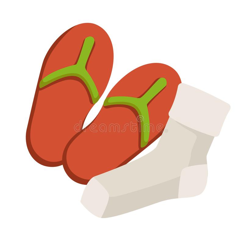 Footwear and hosiery summer flip flops and socks isolated object vector illustration