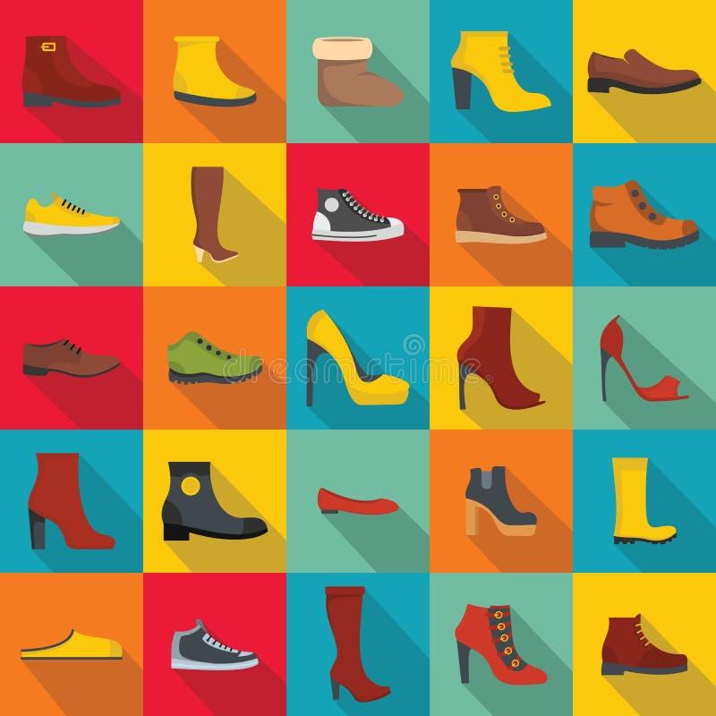 Footwear shoes icon set, flat style stock illustration