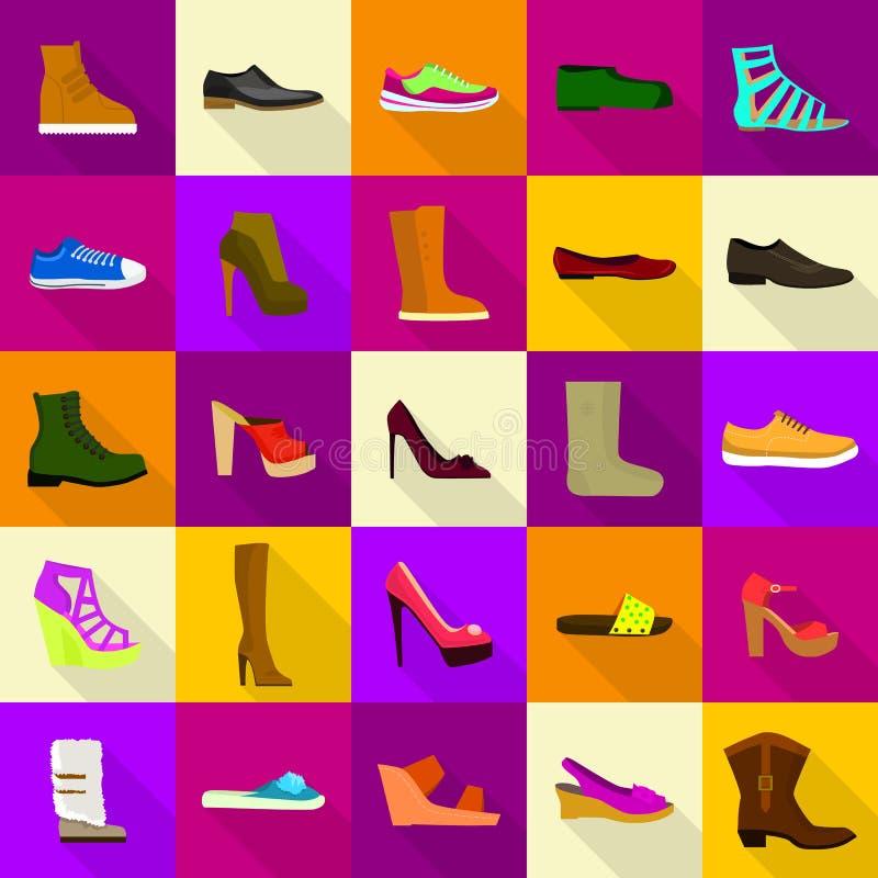 Footwear shoes icons set, flat style stock illustration