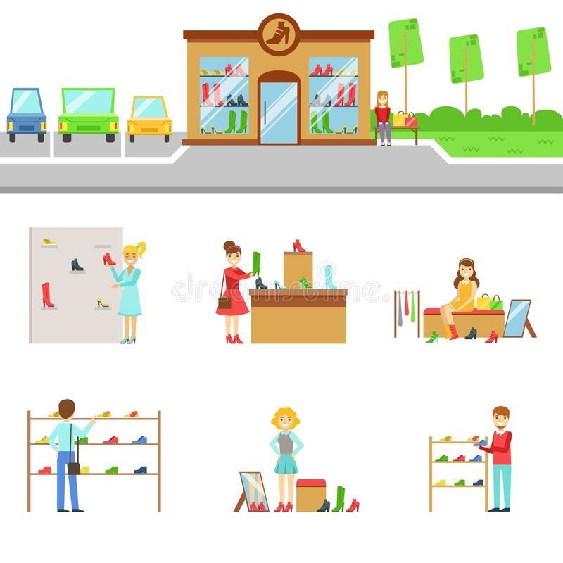 Footwear Store Exterior And People Shopping Set Of Illustrations. Flat Cartoon Minimalistic Vector Drawings On White Background vector illustration