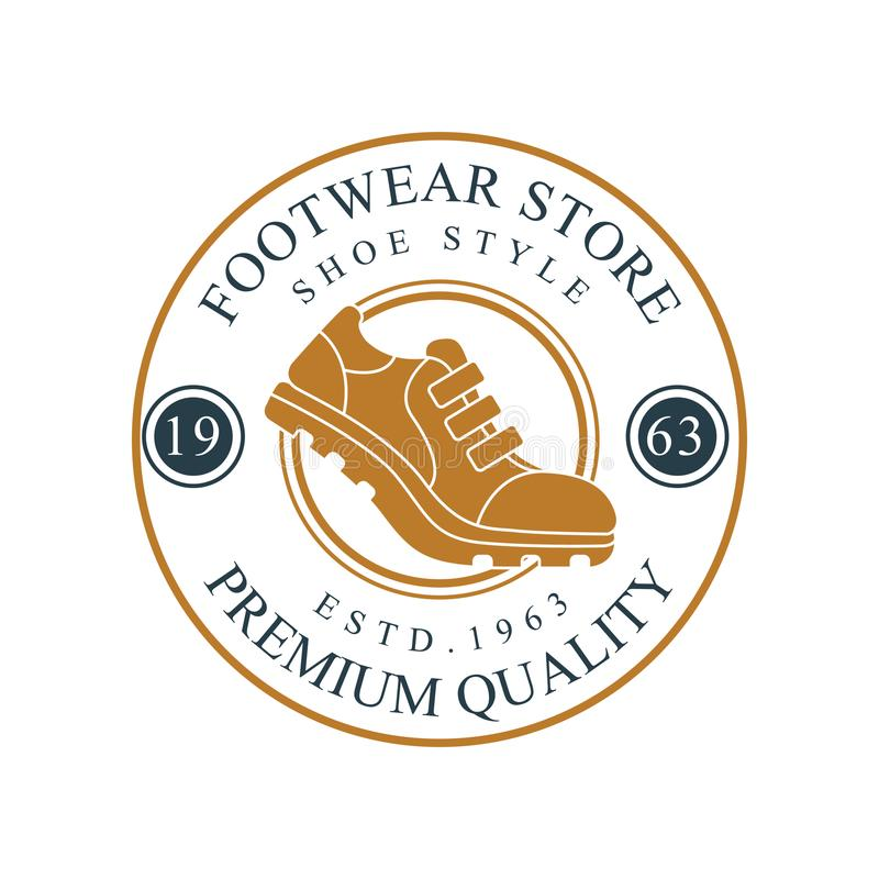 Footwear store logo, premium quality, estd 1963 vintage round badge for footwear brand, shoemaker or shoes repair vector. Illustration on a white background royalty free illustration