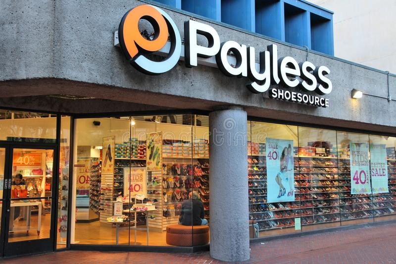 Footwear store - Payless. SAN FRANCISCO, USA - APRIL 8, 2014: Shoppers visit Payless Shoesource footwear store in San Francisco, USA. There were approximately