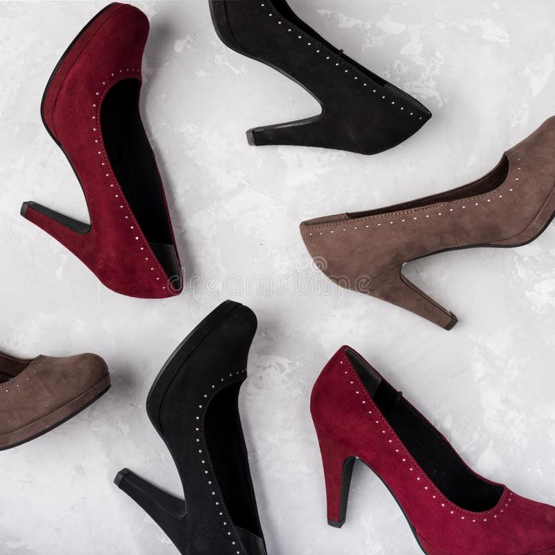 Footwear for women. High heels. Top view different colors of high heels. Fashion and beauty concept. Footwear for women. High heels. Top view different colors royalty free stock photography
