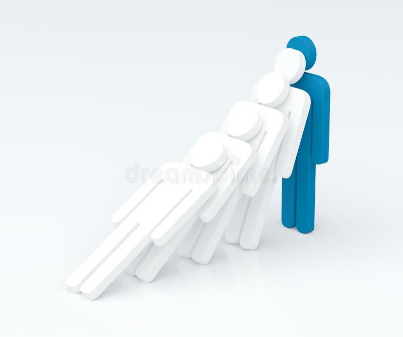 Força de um caráter do líder (conceito da liderança) (3D rendem) fotografia de stock royalty free