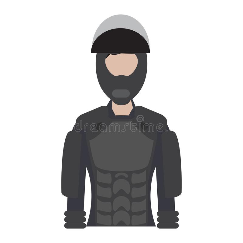 Força fêmea isolada da elite da polícia ilustração stock