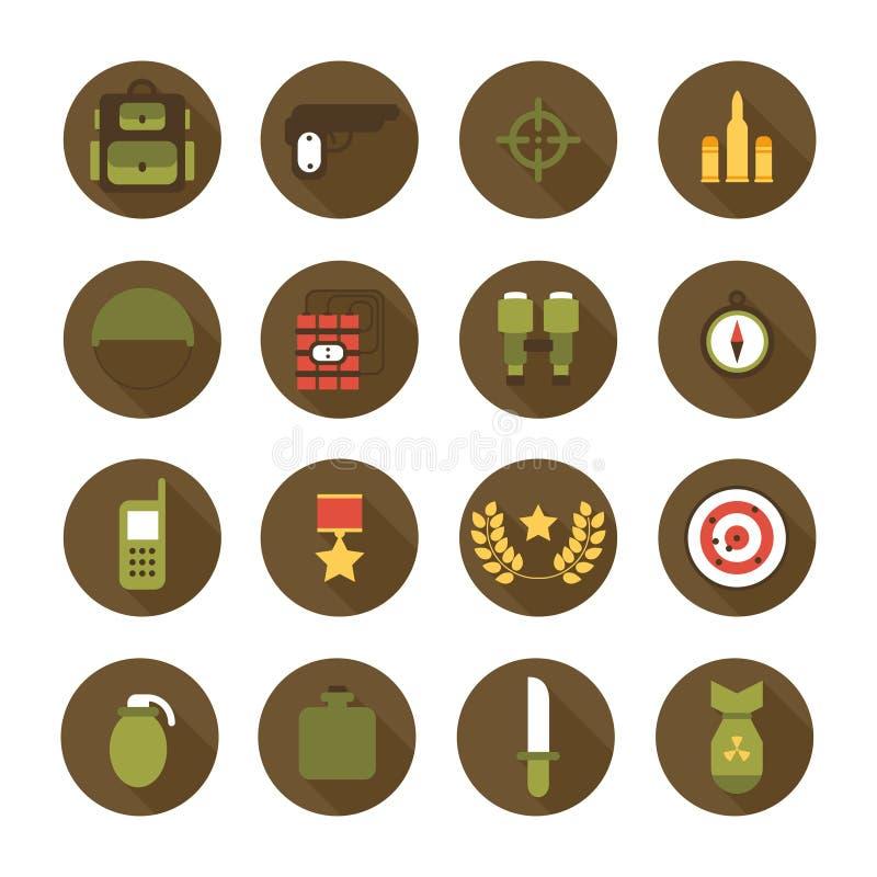 Forças armadas e ícones da guerra ajustados Elementos infographic do projeto do exército Ilustração no estilo liso ilustração royalty free