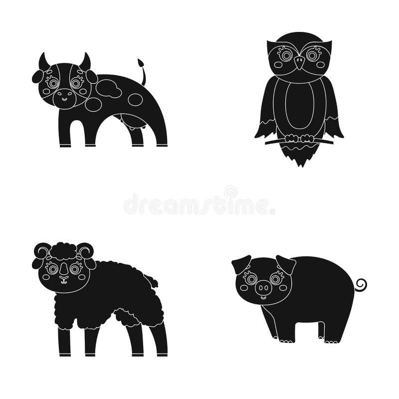 Forêt, écologie, jouets et toute autre icône de Web dans le style noir Animaux, ferme, icônes d'entreprises dans la collection d' illustration libre de droits