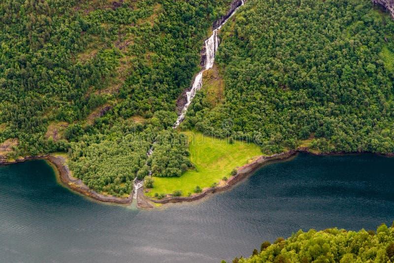 Forêt avec la cascade et la rivière photographie stock