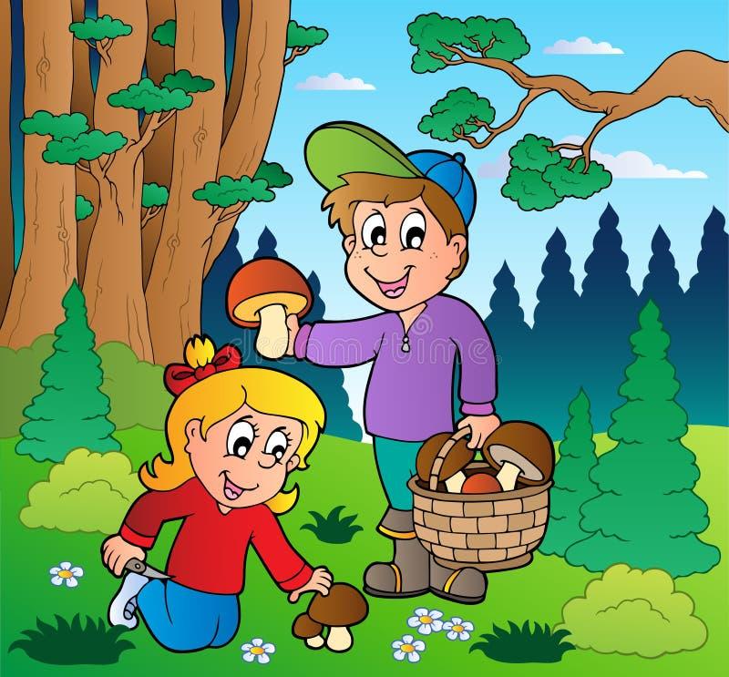 Forêt avec le répandage de gosses illustration de vecteur