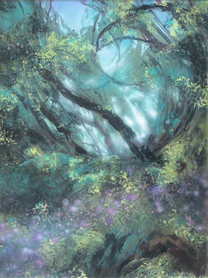 Forêt bizarre mystique magique conte de fées dans le brouillard illustration libre de droits