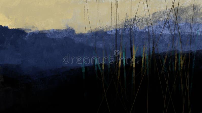 Forêt bleue avec le coucher du soleil de course de brosse d'illustration de nature de montagne avec des arbres photographie stock libre de droits