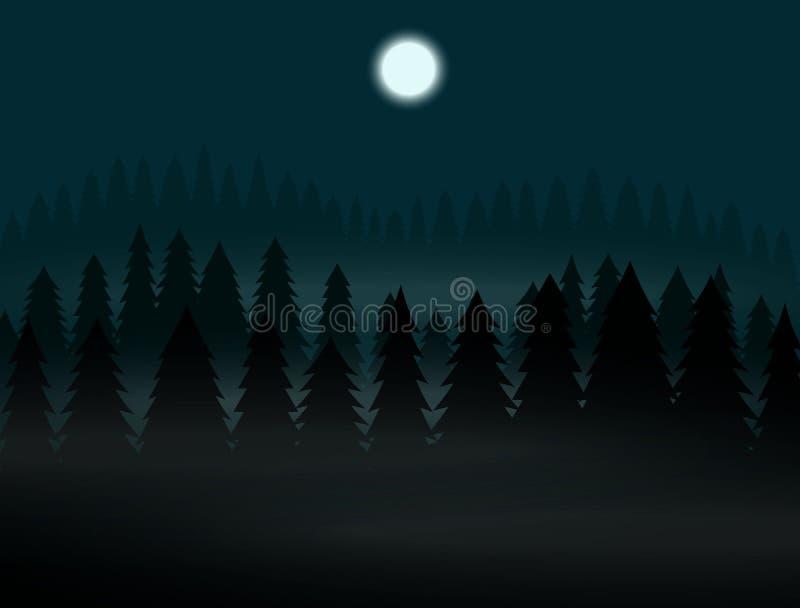Forêt boréale la nuit brumeux pleine lune photos libres de droits