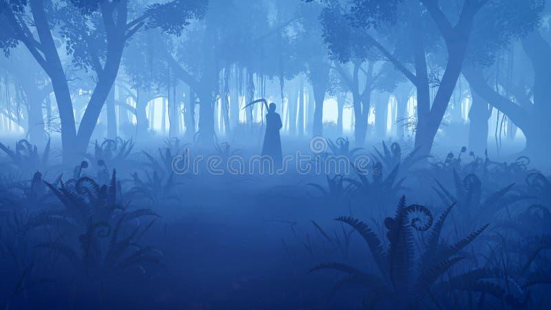 Forêt brumeuse de nuit avec la silhouette de faucheuse illustration stock