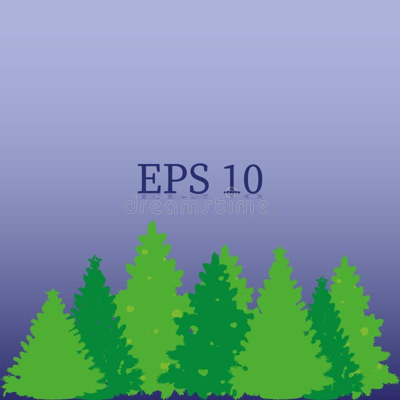 Forêt d'arbres de Noël verts, objet sur un fond bleu, illustration libre de droits