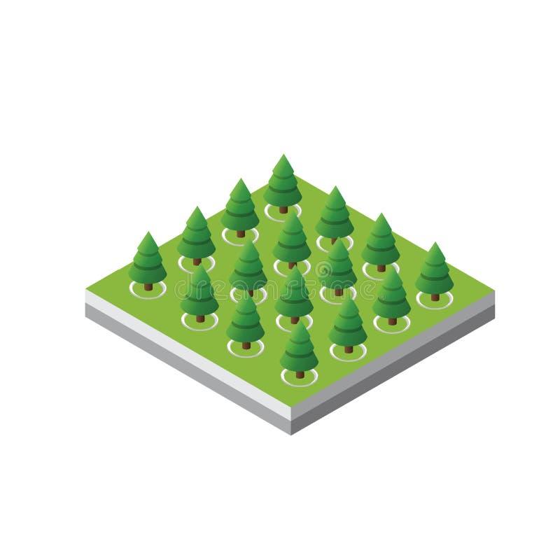 Forêt d'arbres 3d isométriques illustration libre de droits