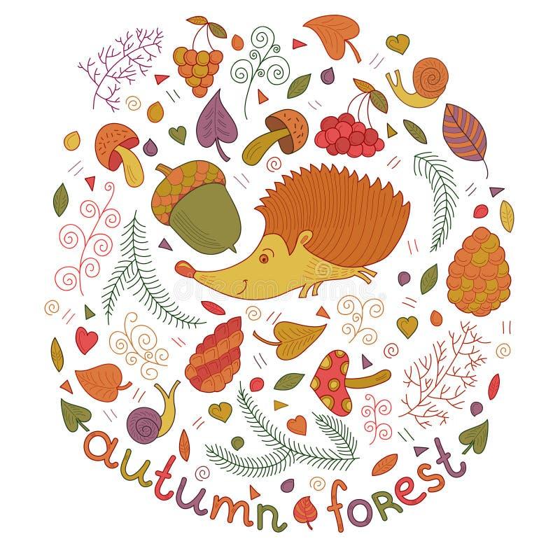 Forêt d'automne réglée dans le vecteur La collection de chute avec le hérisson, feuilles, branches, baies, répand etc. Dans le st illustration de vecteur