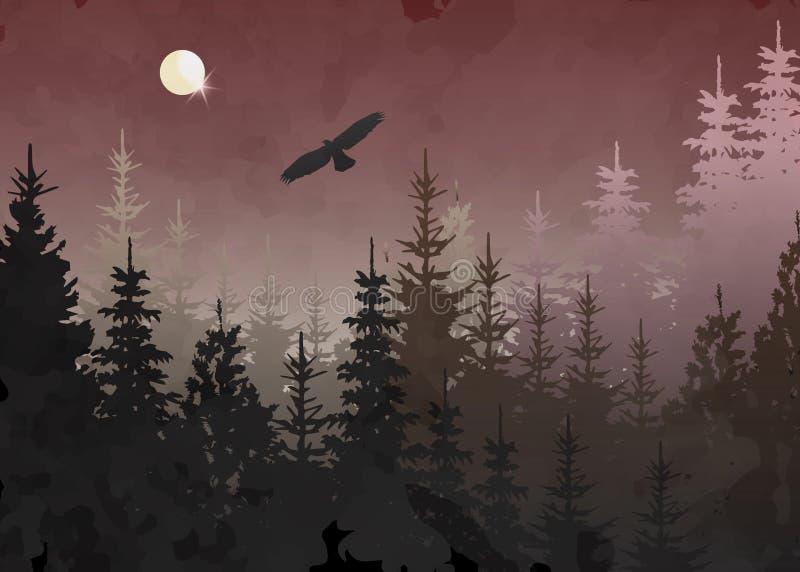 Forêt d'hiver avec l'aigle chauve en vol, fond bleu, paysage de montagne de vecteur Sapins d'arbre de Noël avec la pleine lune illustration libre de droits