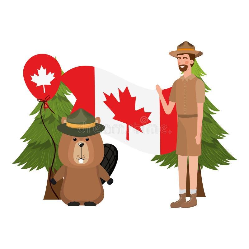 Forêt de castor et garde forestière de conception du Canada illustration libre de droits