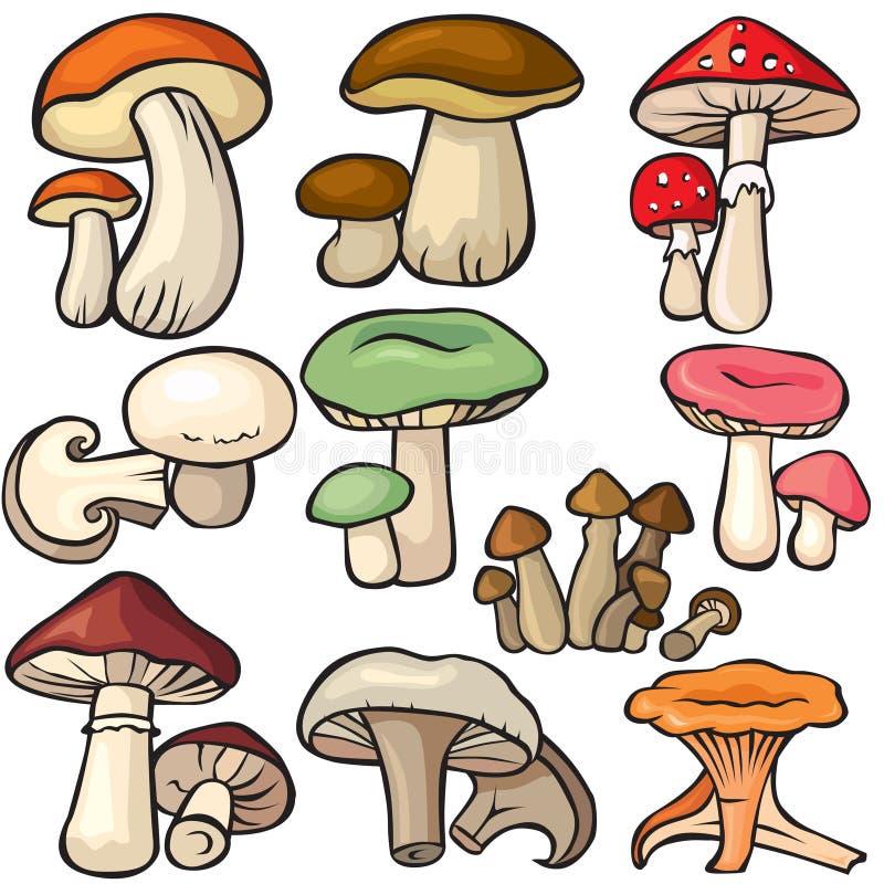 Forêt de champignon de couche réglée sur un fond blanc illustration de vecteur