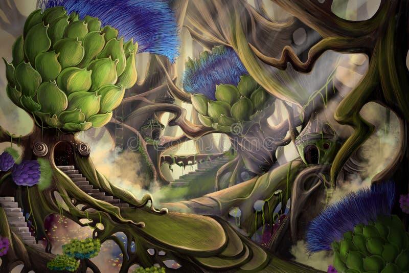 Forêt de dame blanche illustration de vecteur