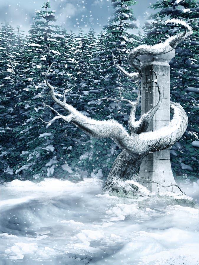Forêt de l'hiver illustration libre de droits