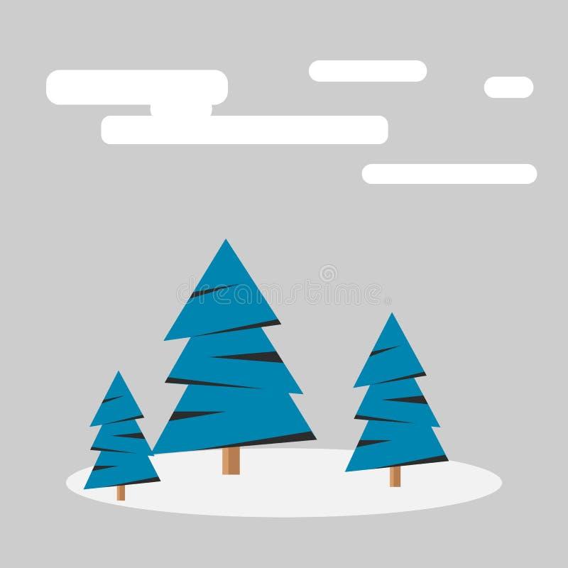 Forêt de l'hiver avec la neige illustration libre de droits