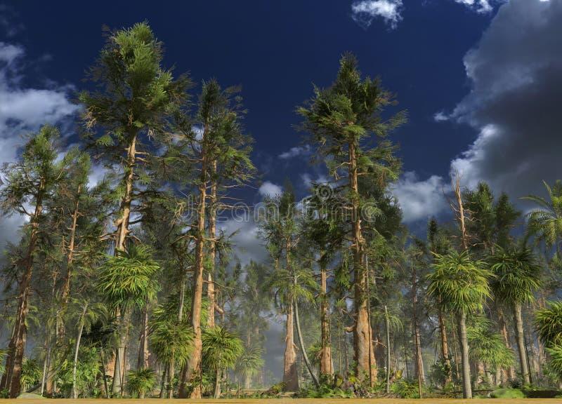Forêt de l'illustration mésozoïque de l'ère 3D illustration stock