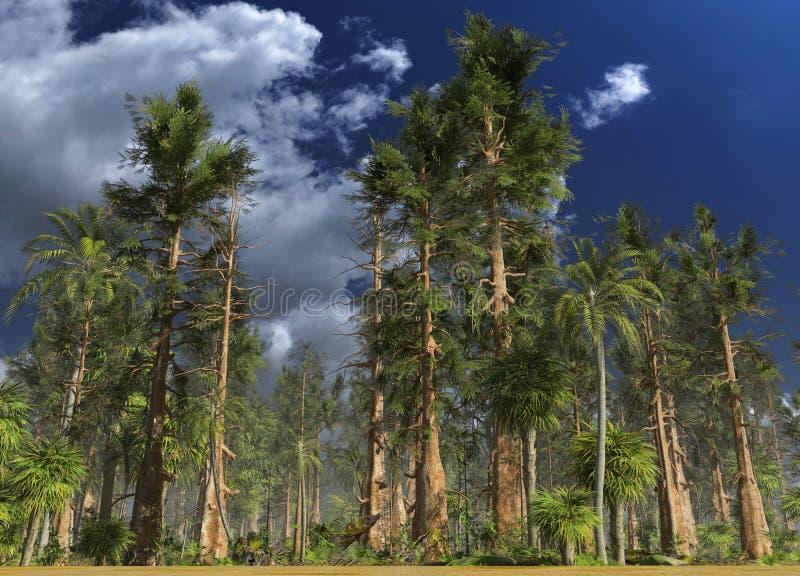 Forêt de l'illustration mésozoïque de l'ère 3D illustration libre de droits