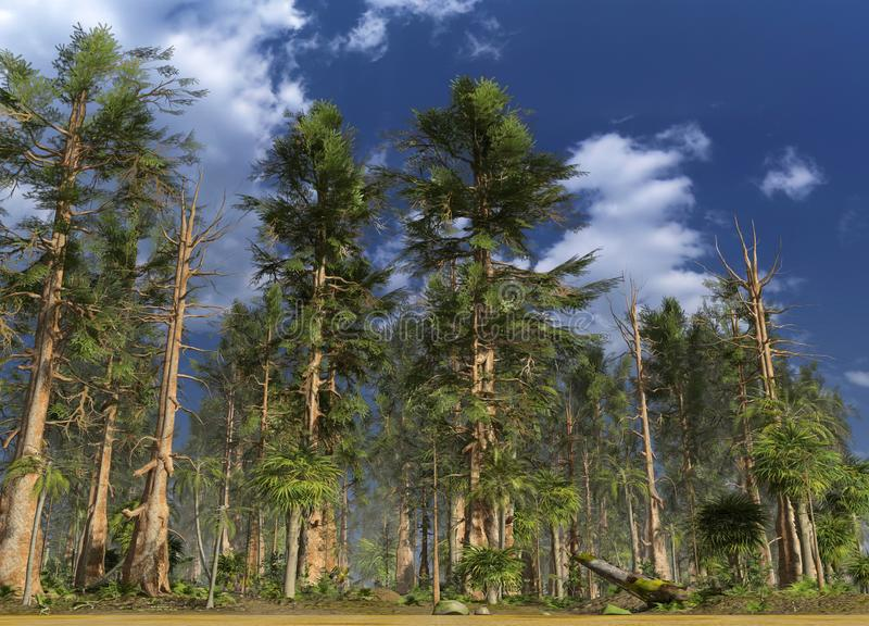Forêt de l'illustration mésozoïque de l'ère 3D illustration de vecteur