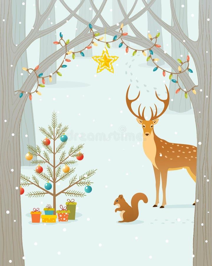 Forêt de Noël illustration de vecteur