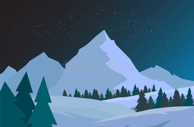 Forêt de Noël de nuit avec des montagnes Carte de vecteur d'an neuf Ciel étoilé illustration libre de droits