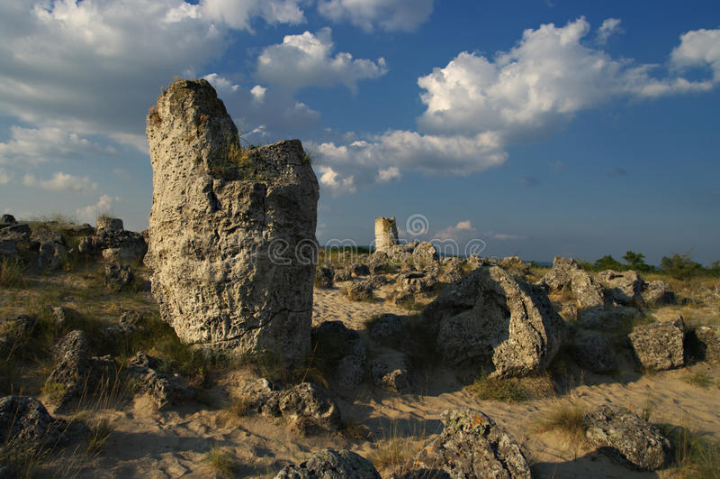Forêt de pierre de phénomène de nature, kamani de la Bulgarie/Pobiti/ photo stock