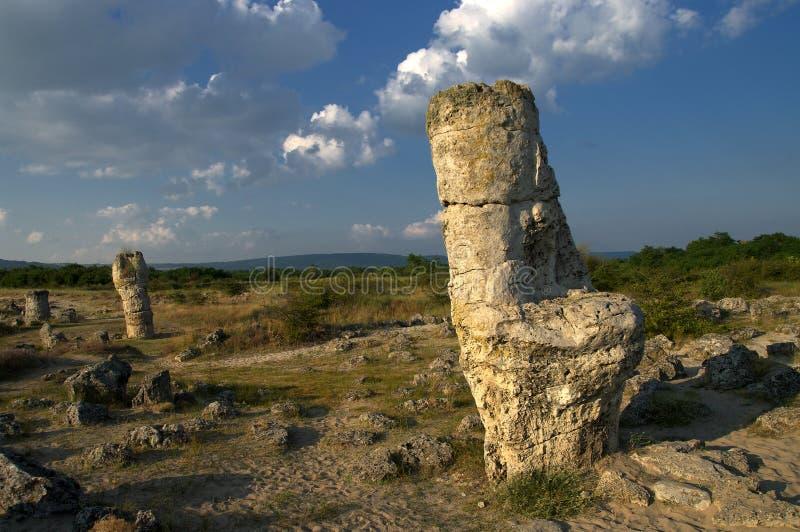 Forêt de pierre de phénomène de nature, kamani de la Bulgarie/Pobiti/ photographie stock libre de droits