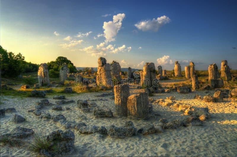 Forêt de pierre de phénomène de nature, kamani de la Bulgarie/Pobiti/ images stock