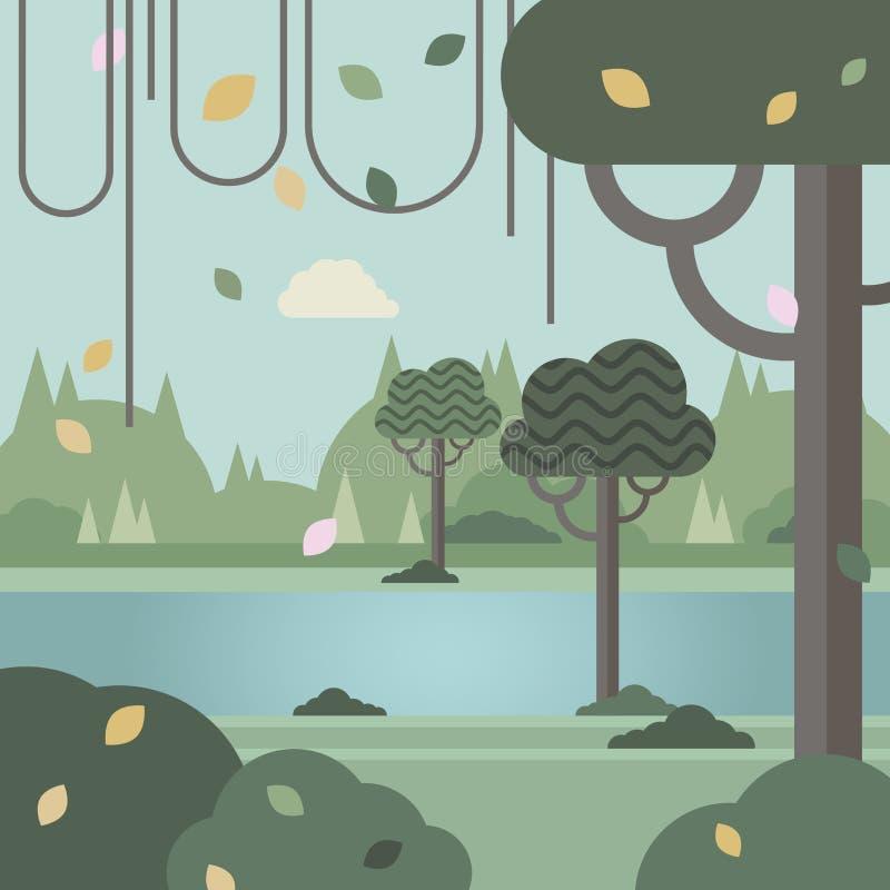 Forêt dense près de la rivière et du feuillage d'automne illustration libre de droits