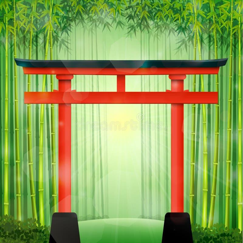 Forêt en bambou avec la porte japonaise rouge illustration libre de droits