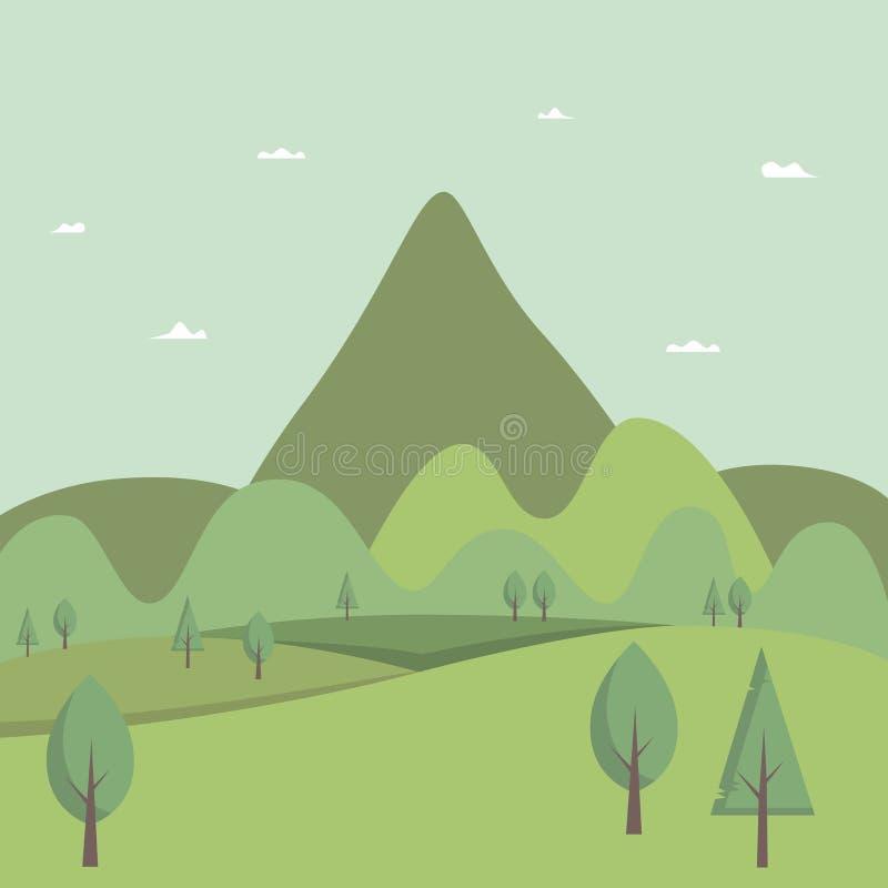 Forêt et montagnes au delà de l'horizon illustration stock