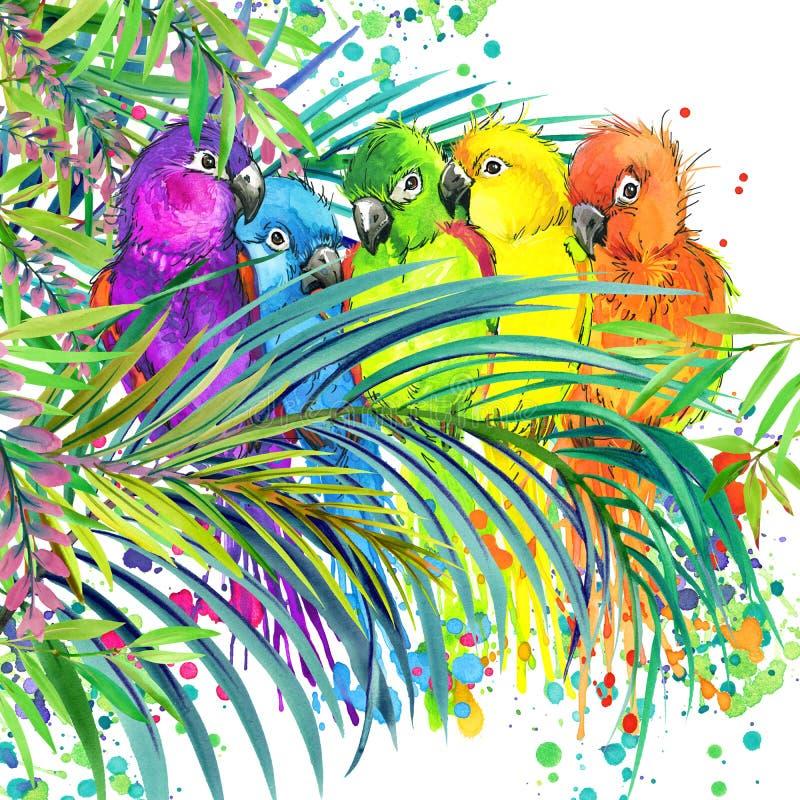 Forêt exotique tropicale, feuilles vertes, faune, oiseau de perroquet, illustration d'aquarelle nature exotique peu commune de fo illustration libre de droits