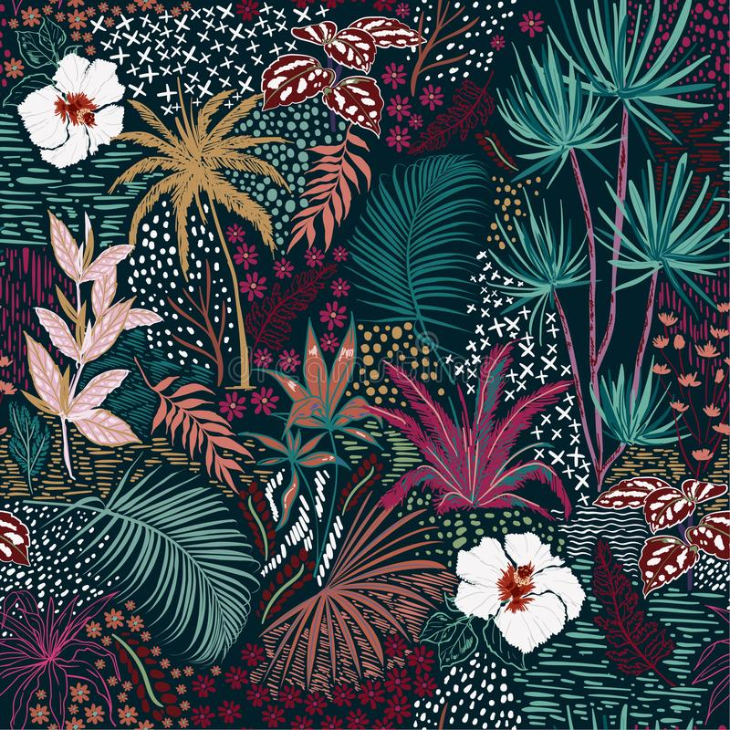 Forêt foncée tropicale sans couture d'été de beau rétro croquis de main illustration de vecteur